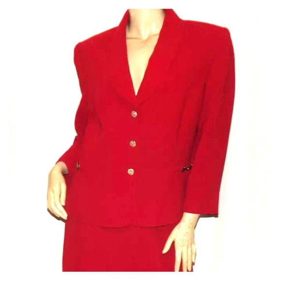 Tahari Jackets Coats Gorgeous Womens Red Suit Size 16 Poshmark